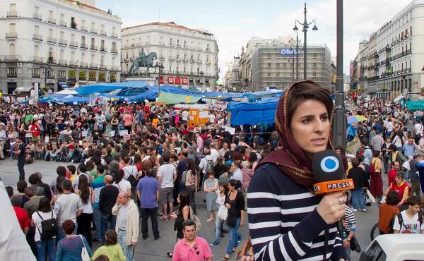 Press TV-correspondent in Madrid, mei 2011. Foto Kadellar / Creative Commons