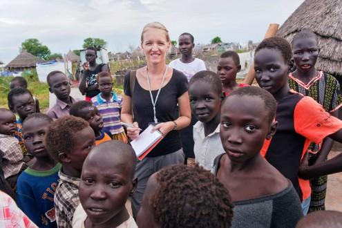 Andrea Dijkstra in Zuid-Soedan. Foto Jeroen van Loon.