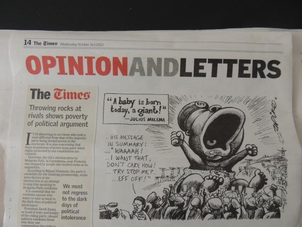 Cartoon uit de Zuid-Afrikaanse krant The Times. Foto Niels Posthumus