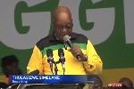 President Jacob Zuma bij de aftrap van de ANC-verkiezingscampagne afgelopen week. Foto screenshot YouTube / eNCA