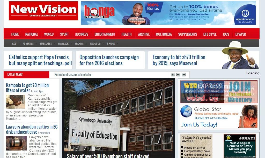 De website van New Vision.
