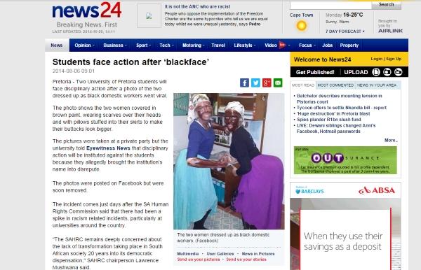 De afbeelding van het verkleedfeestje op de Universiteit van Pretoria. Foto screenshot News24.co.za
